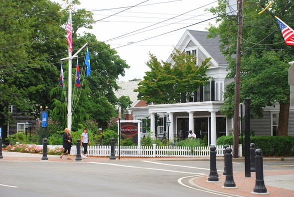 An intersection on Main Street in Hyannis, Massachussets