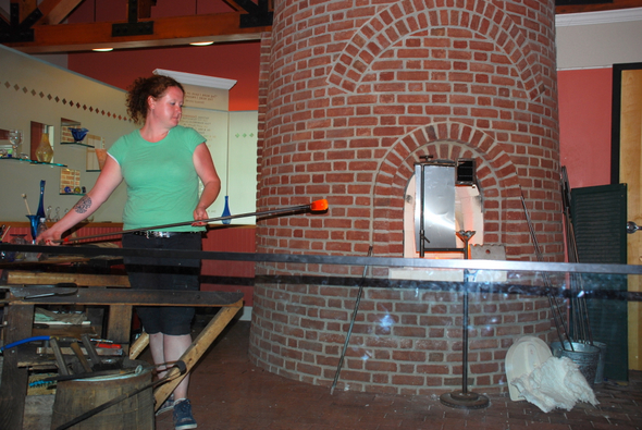 A glassblowing demonstration in the historic Sandwich Glassblowing Museum (2007)
