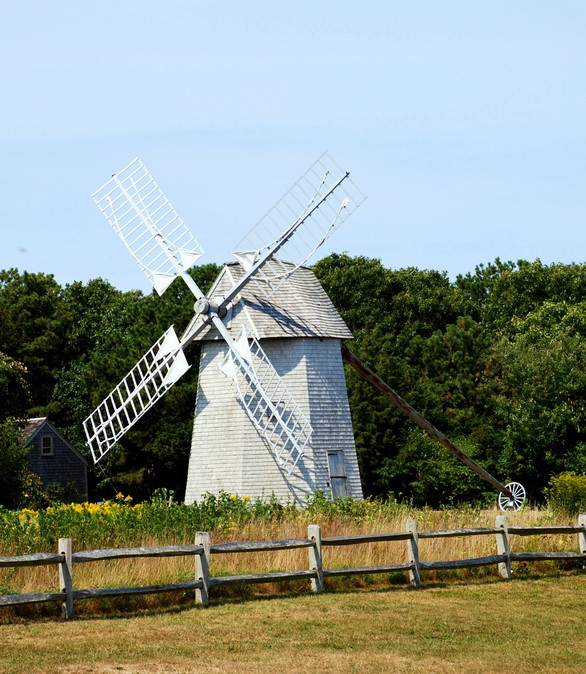 The Higgins Farm Windmill in Brewster, MA in Cape Cod