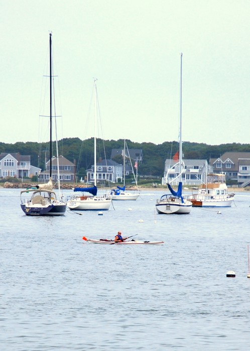 Kayaking in the marina in Hyannis, Massachussets