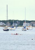 Kayaker in Hyannis' port in Hyannis, MA